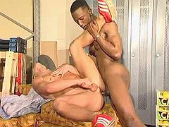 Black stud dominating white rectal hole on warehouse
