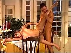 Two amateur waiters having getting pleasure right on dinner table