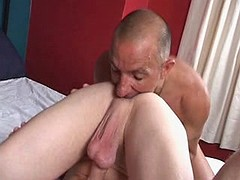 Lustful hunk likes to have his beafy pecker sucked