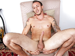 concupiscent muscly guy with tattoos jerks off his stupendous big pecker