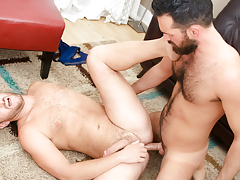 Rich's aching cock gets some of Lucas' tight hairy apple bottoms