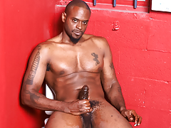 Moist and sexually excited black guy wanks his mammoth black weenie off