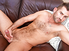 damp hairy bear wanks his thick tasty cock until he cums