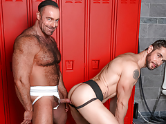 Dean & Brad pull their cocks from their dicks at the lockers