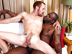 Huge black stick gets punched inside tiny white redheaded stud