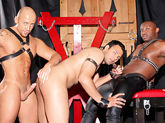 Cock-craving slut AJ is hairless & dominated by Jordano & Marc