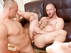 Cock-hungry hairy swine David slobbers over Enzo's veiny rod