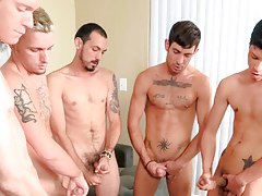 5 guys gush cum on a muffin that the ending to cum has to eat!