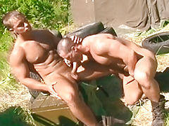 One pervy soldier watches his 2 buds fuck during binoculars