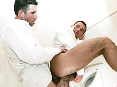 Student assistants Tim Black and Rod Stevans fuck in a bathroom