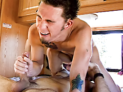 Two studs are blowing and astonishingly on a recreational vehicle.
