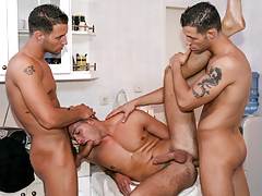 Security guard twins Alex & Ian fuck alluring sub boy Buck