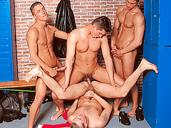 It's a locker room gangbang when 4 athletes meet after the game