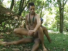 Two latin and black boys go at it in the woods hardcore in 3 video