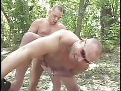 Mature fruit fucking in the bright forest in 4 movie scene