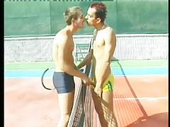 Clammy twinks bone beside a tennis court in 1 movie scene