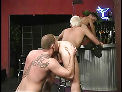 Hairy gay stripper keen to to get rimmed in 3 movie