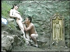 Asian faggot cocksuckers sexually coaxed for a hard prick outdoor in 2 video