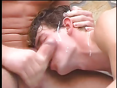 Teen man gets spitroasted in spa pool in 6 clip