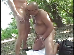 Grown man-lover fucking in the bright forest in 2 video