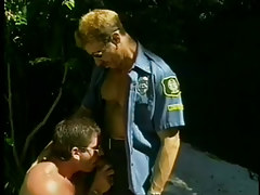 Playing with dick perv sucks off two cops in 1 video