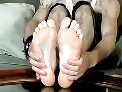 A Cock Rubbing Foot Show - Axel