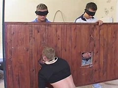 Gang of young gays have group cock sucking fun in the barn