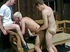Handsome homosexual guys in anal action