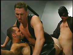 Leather clad men having faggot sex in 5 motion picture
