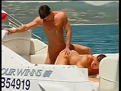 Two chaps fucking and sucking on a boat in 3 movie