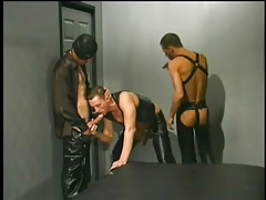 Leather clothes men having gay dude love making act in 1 clip scene