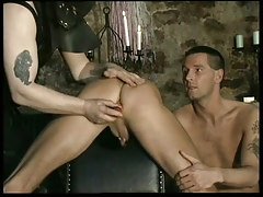 Fetish leather twinks in dungeon in 1 movie scene