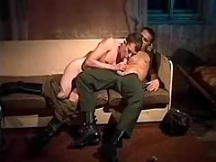 Two military homosexual guys blow each other