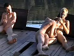 Village twinks orally fixating by the river