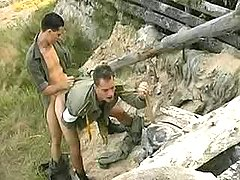 Military gay guys fuck n spunk outdoors