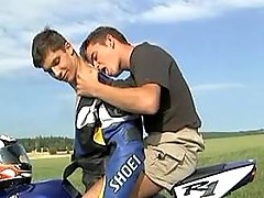 Smooth bikers participate oral pleasure in nature