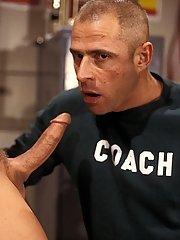 Basketball jock Zachery Scott fucks his coach Mike Radcliff in the classroom