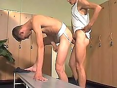 College gay boy drills faggot in checkroom