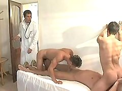 Cute twinks greedily suck gigantic dick of doctor