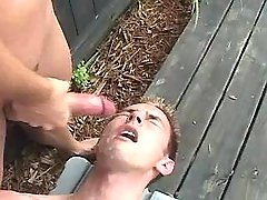 Sexy fruit jizzes and eats cum outdoor