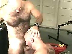 Mature homosexual sucks dick and licks furry orifice