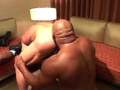 Mature homosexual guys have fun in interracial gangbang
