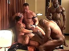 Five ready gays suck cocks and fuck in group sex