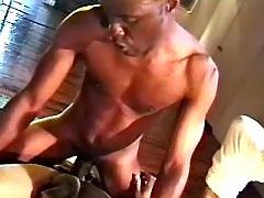Black man-lover courtesan serving hungry hunk