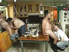 Chubby mature man-lovers suck dicks on kitchen