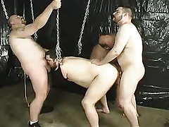Fat homosexual guys fuck each other in groupie