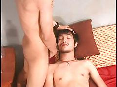 Asian boy obtains moist facial