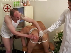 Gay doctor and dude fingering unyielding hole by turns