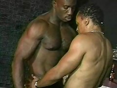 Black gay wench serving sexually aroused hunk