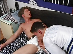 Naughty college male deep throats cock